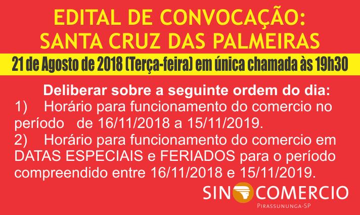 EDITAL DE CONVOCAÇÃO: SANTA CRUZ DAS PALMEIRAS